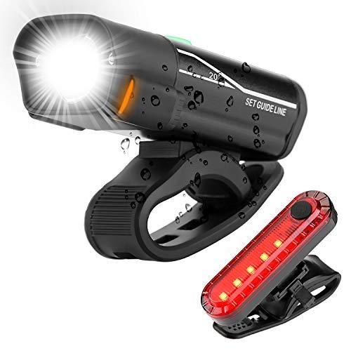 Luci Bicicletta, Luce Bicicletta a LED Impermeabile, Ricarica USB, Super Luce da 800 Lumen, Cinque modalità di Illuminazione, Luce Anteriore per Bicicletta e Combinazione di fanali Posteriori