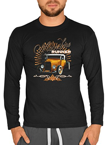 Goodman Design ® Langarm T-Shirt Vintage Moonshine Runner Rockerbilly Langarmshirt Pin Up für Herren T-Shirt American Laiberl Leiberl Hot Rod Oldschool