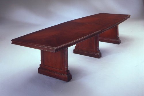 Hot Sale DMi Furniture DMi Keswick Boat Shaped 12' Conference Table with Slab Base in Cherry