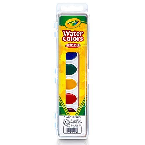 Crayola Artista 8 Semi-Moist Oval Pans Watercolor Set with Brush