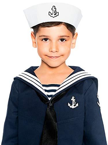 Klassische Kinder-Mütze für Matrosen und kleine Seefahrer perfekt für Karneval Fasching Mottopartys & Halloween - Verkleidung Uniform Anzug
