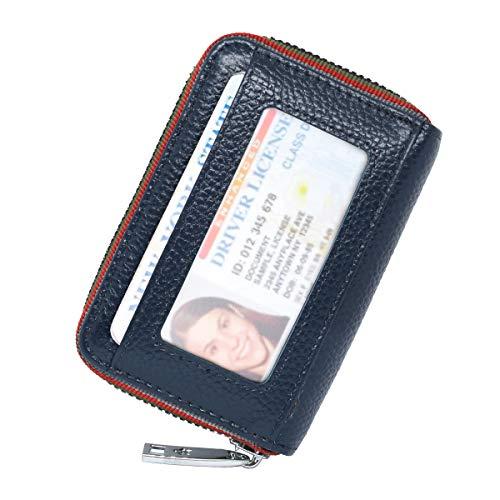 [imeetu]カードケース じゃばら お札入れ ミニ財布 軽量 大容量 12枚収納 スキミング防止 本革 男女兼用 無地(ダークブルー)