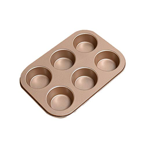 Bakvormen goedkoop, bakvormen Crown Muffin Pan, 6 wells, Anti-aanbak Quick Release Coating, Professionele Anti-aanbak Muffin Top Pan,Golden