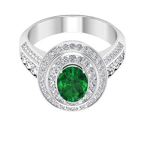 Rosec Jewels 10 quilates oro blanco ovalada round-brilliant-shape H-I Green Diamond Zafiro azul Leb creado