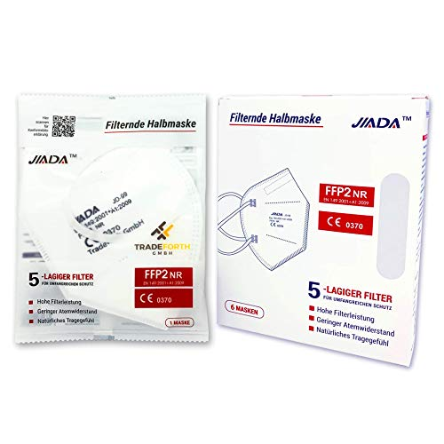 Tradeforth GmbH 50x FFP2 Schutzmaske - 5 Lagig - CE0370 - Dermatest: SEHR GUT
