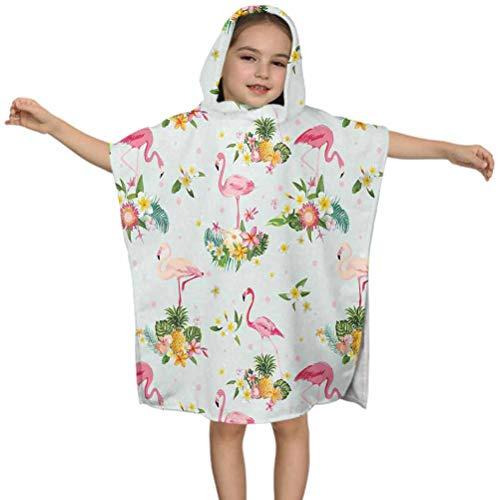 Ahuimin Flamingo - Juego de toallas de baño con capucha para playa, diseño de pájaro flamenco, flores tropicales, frutas y pinos, estilo vintage, 61 x 60 cm, con capucha, para niños