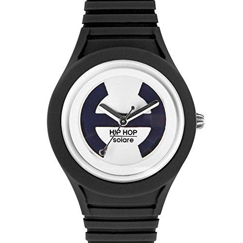 Hip Hop Watches - Orologio da Donna Black Tie HWU0529 - Collezione Solare - Cinturino in Silicone - Impermeabile 5 ATM - Cassa 34mm - Nero