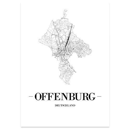 JUNIWORDS Stadtposter - Wähle Deine Stadt - Offenburg - 21 x 30 cm Poster - Schrift A - Weiß