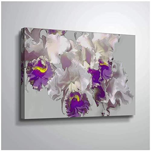 Decoración del hogar Arte de la pared Lienzo Blanco Púrpura Orquídea Pinturas florales Imágenes Impresiones en HD Cartel moderno Dormitorio Modular -60x80cmx1 Sin marco