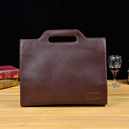 QSGNR Aktentasche Retro Herren Aktentasche Büro Taschen Leder Handtasche New Computer Laptop Tasche Lässige Crossbody Taschen Braun