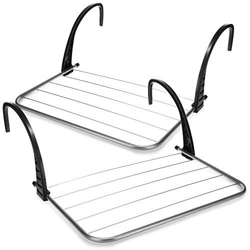 com-four® 2X tendedero para Ropa, tendedero para calefacción o bañera, secador de balcón Ajustable, secador Colgante (02 Piezas - 51 x 35cm)