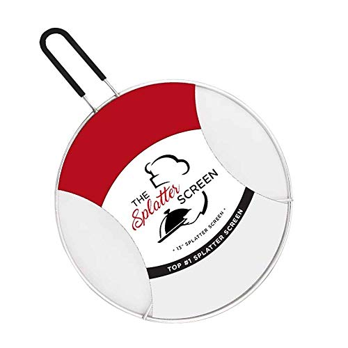Splatter Screen for Frying Pan 13' with Silicone Handle and Resting Feet. Protects Skin from Burns - Cast Iron Skillet Lid Keeps Kitchen Clean - Stainless Steel - Stops 97 Percent of Hot Oil Splash