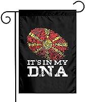 その私のDNA北マケドニアの旗ガーデンフラッグ12x18両面ファーム芝生屋外装飾ガーデンバナー