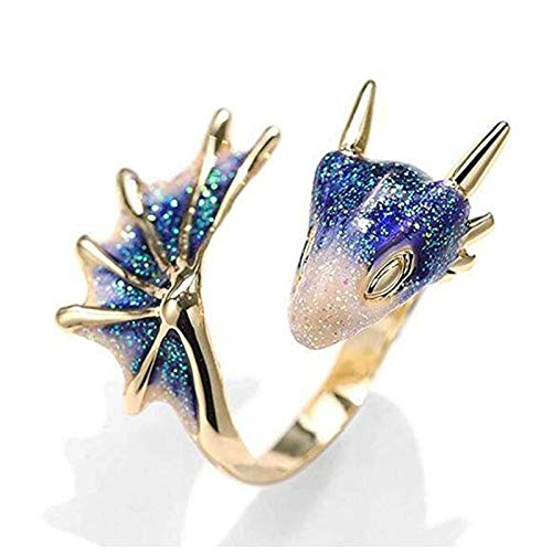 Juyuntong 2021 New Gold Topaz Dragon Ring Lucky Finger Pet - Knight Dragon Ring, Gothic Dragon Open Ring Adjustable, for Women Men Gift (Blue)