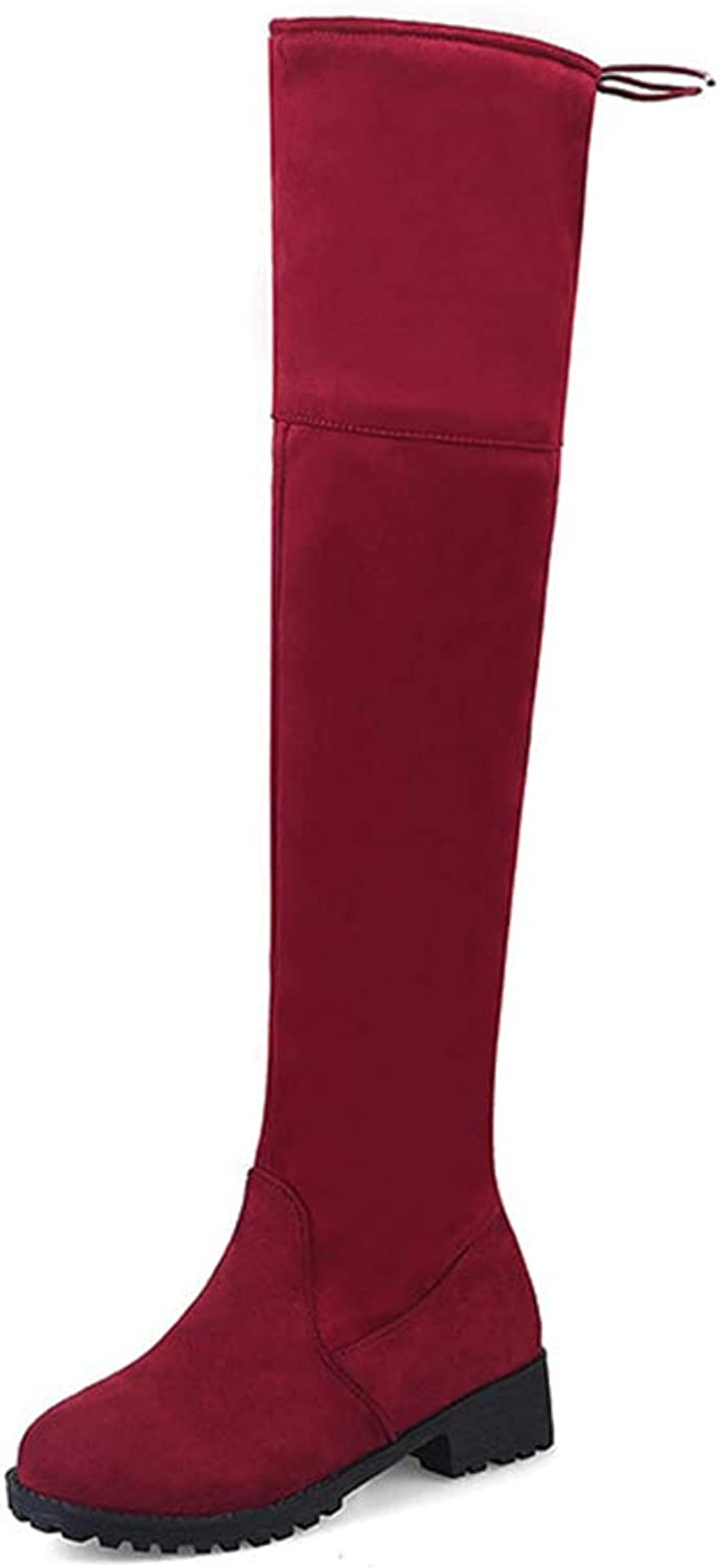 Women Winter Thigh High Boots Flat with Heel Round Toe Over The Knee Lace-Up Boot Zipper Long shoes