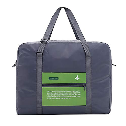 Respctful✿ Women Ladies Canvas Weekender Bag Overnight Carry-on Tote Duffel in Trolley Handle Bag Green