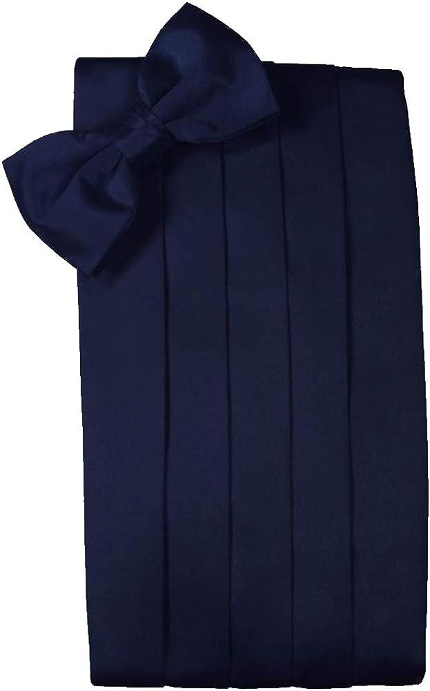 Men's Solid Satin Cummerbund & Bow Tie Set - Many Colors (Marine)