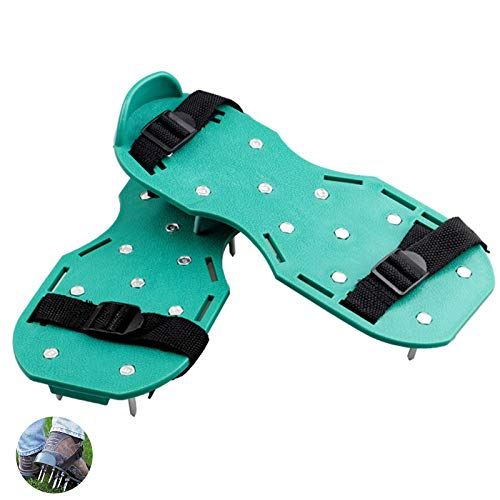 Aireador de Cesped Zapatos Sandalias de Aireador de Césped Zapatos para Airear el Césped, Sandalias Aireador para aflojar el Suelo Zapatos para tu Césped, Jardín, Jardinería con Hebillas Metálicas