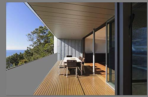 HENG FENG 90X400cm Jardín Balcón Pantalla Protección de privacidad PES 160g / m², Protección UV, Resistente al vientoy al Agua, con Cables, Gris