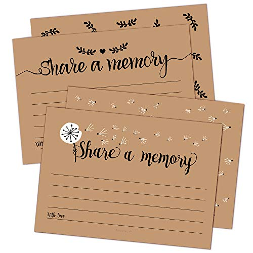 50 Share A Memory Cards - Perfect for Celebration of Life, Memorial, Funeral, Retirement, Going Away Party, Birthday, Graduation, Anniversary, Wedding, Bridal Shower - 2 Rustic Designs, 25 Cards Each