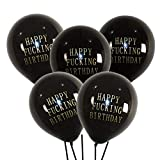 Abusive Funny Happy Birthday Balloons - 20 Dirty Party Balloon Decorations In Color Black Great For Mens Birthdays Between 30th And 40