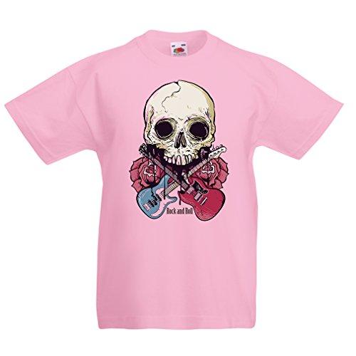 lepni.me Camiseta para Niño/Niña Guitarras, Calavera, Rosas - Amantes del Concierto de Rock & Roll (12-13 Years Rosado Multicolor)