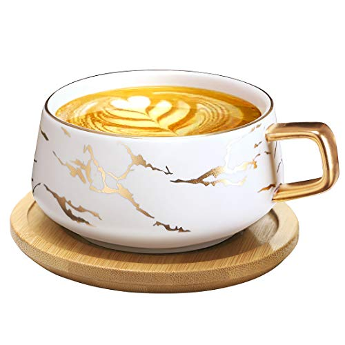 Tilany Tea Cup and Bamboo Saucer Set - Ceramic Tea Mug with Luxury Gold Inlay, Fashion Marble Pattern - 12.5 Oz Large Tea Cups in White - Fancy Hot Coffee Cup - Cute Teacup Sets for Women, Men (White)