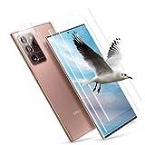[2 + 2 Unidades] Protector de Pantalla de Cristal Templado Para Samsung Galaxy Note 20 Ultra, Protector De Pantalla Hd, Antiburbujas, Dureza 9H, Borde 3D, Antiarañazos, Antihuellas (Transparente)