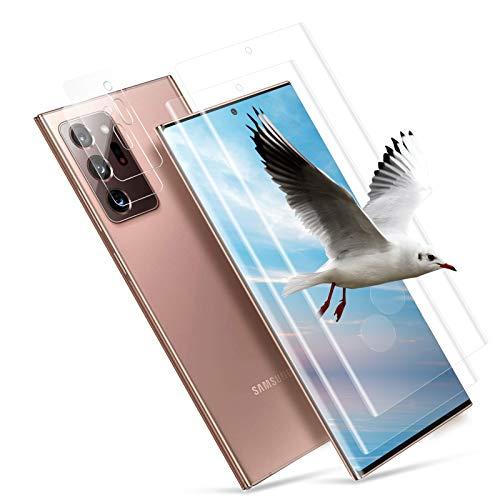[2 + 2 unidades] Protector de pantalla de cristal templado para Samsung Galaxy Note 20 Ultra+, protector de pantalla HD, antiburbujas, dureza 9H, borde 3D, antiarañazos, antihuellas (transparente)