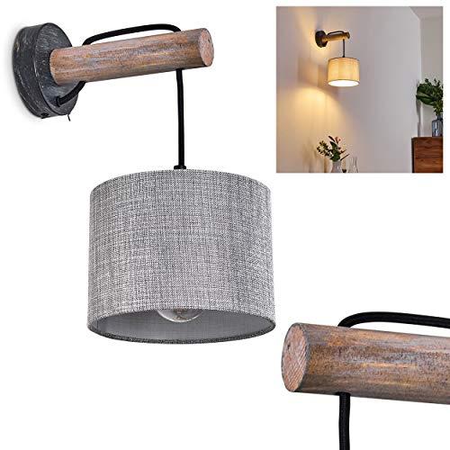 Wandleuchte Adelboden, Wandlampe aus Metall/Holz/Textil in Schwarz/Natur/Grau, 1-flammig, 1 x E27-Fassung max. 40 Watt, moderner Wandspot mit Stoff-Schirm u. An-/ Ausschalter am Gehäuse, LED geeignet