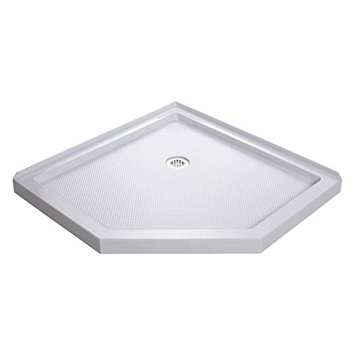 DreamLine SlimLine 36 in. D x 36 in. W x 2 3/4 in. H Corner Drain Neo-Angle Shower Base in White, DLT-2036360