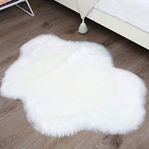 HETOOSHI Falso Piel de Carnero Vellón Alfombra,Piel de Imitación excelente piel sintética de calidad alfombra de lana ,Adecuado para salón dormitorio baño sofá silla cojín (nubes blancas, 90 x 110 cm)