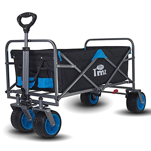 Trädgårdsvagn, utomhus vikning camping bil, picknick camping camping bil, liten släpvagn, universellt hjul och justerbart handtag, med bromshjul