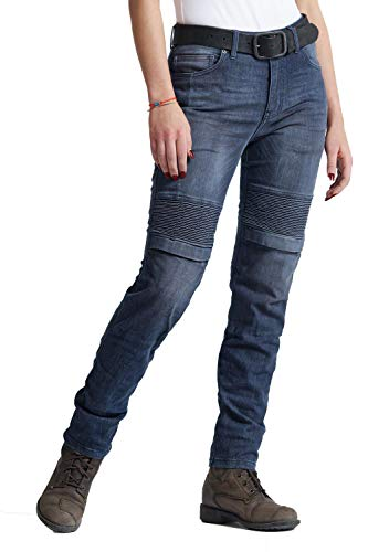 Pando Moto Rosie Navy Plain Women's Cordura Motorcycle Jeans with Kevlar Lining CE Approved Slim Fit Motorbike Trousers
