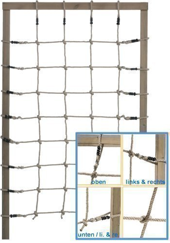 Loggyland Kletternetz Höhe 2,00m x Breite 1,25m (2,00 Meter hoch, 1,25 Meter breit) Verschiedene Netzfarben zur Auswahl HxB 2,0x1,25 ohne Holzkonstruktion (Natur)
