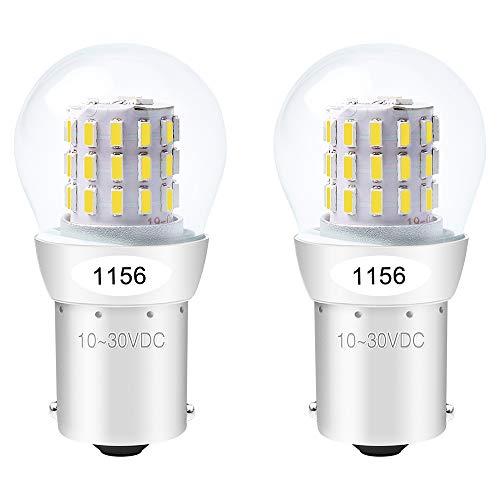ALOPEE - 2-Stück Weiß 1156 Glühbirne 1141 7506 Lichtlampe - Super Hell 10-30V DC - Für Rückfahrscheinwerfer Spiegelleuchten RV Licht