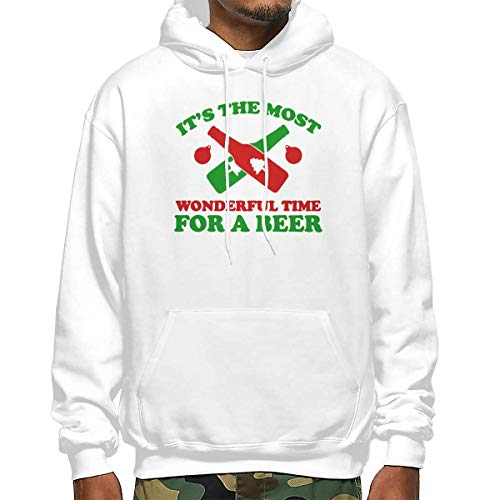 Heyuanqinkeji Katoenen Pullover Comfortabele Hoodie Sweatshirt Zwart Print Het is Meest Prachtige Tijd voor Bier Hooded Shirts met Pocket