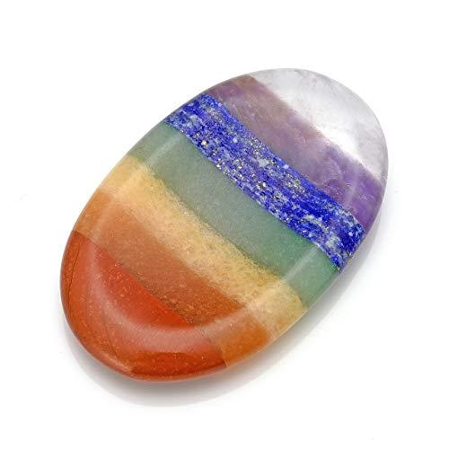 CrystalTears 7 Chakra Handschmeichler Oval Konkav Form Edelstein Worry Stone Healing Reiki Kristall Pocket Palm Stein Deko