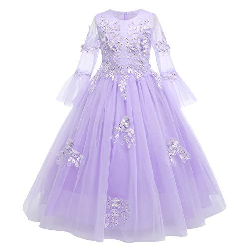FYMNSI Vestido largo de noche para niña de flores, bordado, manga 3/4,...