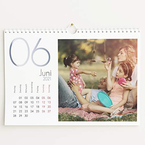 sendmoments Fotokalender 2021 mit Relieflack, Kalenderjahr, Wandkalender mit persönlichen Bildern, Kalender für Digitale Fotos, Spiralbindung, DIN A4 Querformat