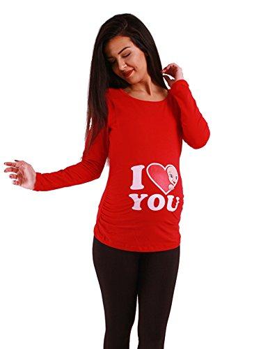 Amor - Camiseta premamá Sudadera con Estampado Durante el Embarazo, Manga Larga (Rojo, Large)