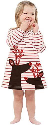 Jacket Vestidos para niños pequeños y niñas de ciervos a rayas princesa vestido de Navidad (color: blanco, tamaño: 4-5 años)