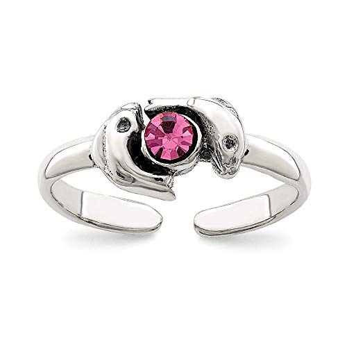 925 Sterling Silver Pink Cubic Zirconia Cz Dolphin Adjustable Cute Toe Ring Set Fine Jewelry For Women Gifts For Her