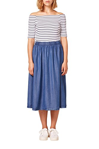 edc by ESPRIT Damen 058CC1E022 Kleid, Mehrfarbig (White 100), Medium
