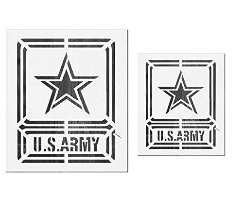 OBUY Große US-Militär-Logo-Schablone (2 Stück) zum Malen auf Holz, Stoff, Wänden, Airbrush und mehr   wiederverwendbare Mylar-Schablone (U.S.Army)