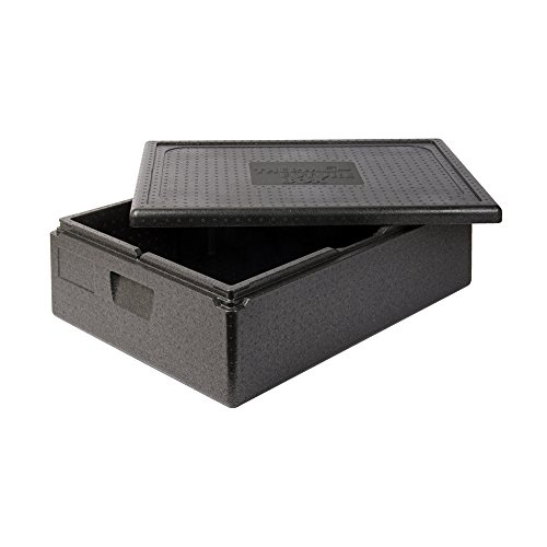 Thermo Future Box Kühlbox Transportbox Warmhaltebox und Isolierbox mit Deckel, Thermobox aus EPP (expandiertes Polypropylen), schwarz, 42 l