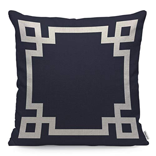 WONDERTIFY Pillow Cover Navy Blue and White Greek Key Border - Soft Linen Pillow Case for Decorative Bedroom/Livingroom/Sofa/Farm House - Cushion Covers Couch Pillow 18x18 Inch 45x45 cm