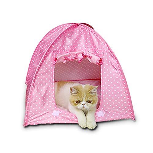 WFWUK Tienda de campaña para Perros Casitas para Gatos Caseta de Perro al Aire Libre Casa de Perro Cama Interior Perro Impermeable Tienda Pink