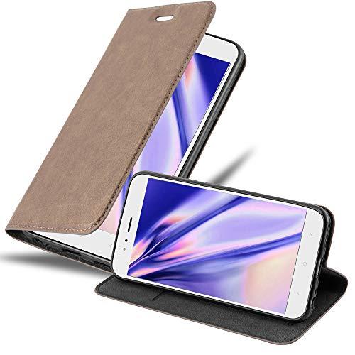 Cadorabo Hülle für Xiaomi Mi A1 / Mi 5X in Kaffee BRAUN - Handyhülle mit Magnetverschluss, Standfunktion & Kartenfach - Hülle Cover Schutzhülle Etui Tasche Book Klapp Style