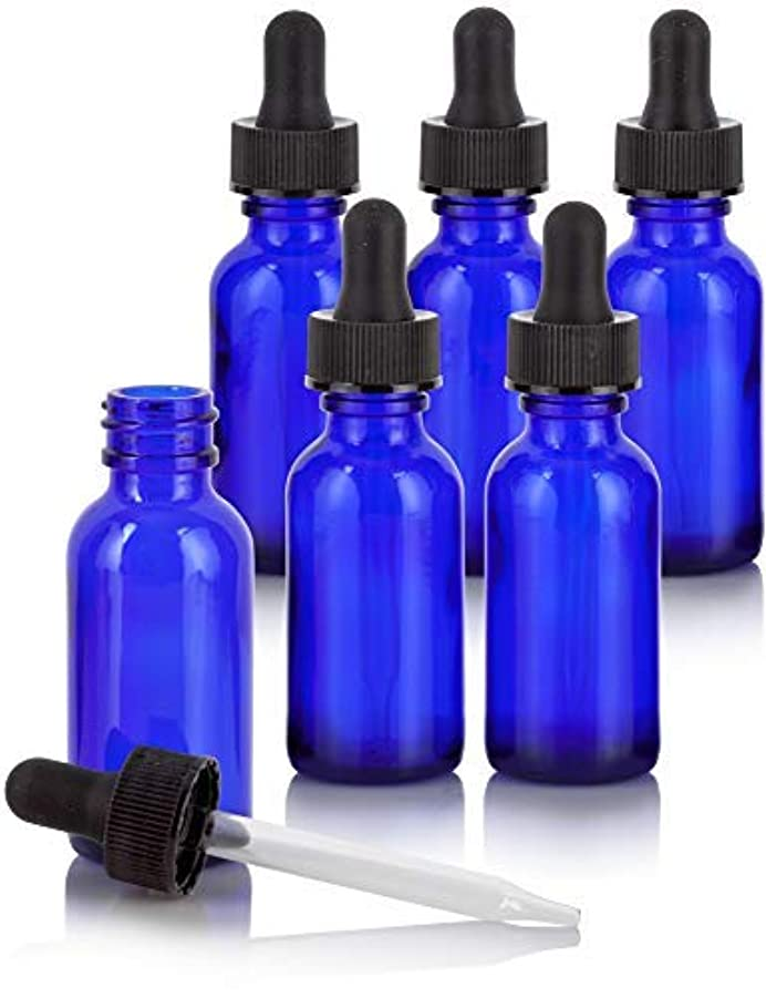 パブ小説家飲み込む1 oz Cobalt Blue Glass Boston Round Dropper Bottle (6 Pack) + Funnel and Labels for Essential Oils, Aromatherapy, e-Liquid, Food Grade, bpa Free [並行輸入品]